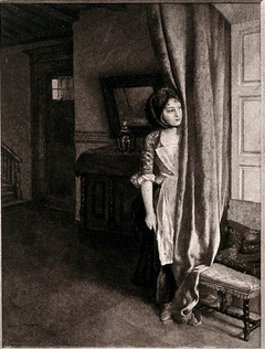 """A girl looking out from behind a curtain across a street scene at a boy seated on a table playing the recorder in the opposite house."""